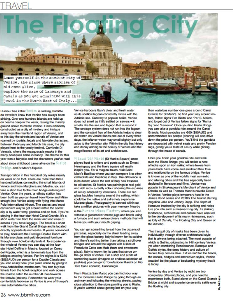Venice Article Clipping
